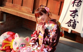 Picture look, girl, face, smile, style, clothing, kimono, Asian