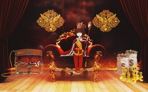 Picture money, chair, anime, crown, art, guy