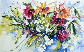 Picture flowers, watercolor, painting