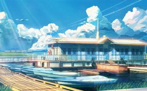 Picture sea, Marina, boats, everlasting summer, endless summer, iichan-eroge