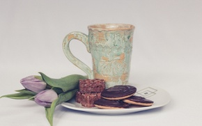 Picture bouquet, cookies, plate, Cup, tulips, cakes