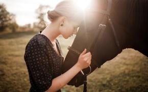 Wallpaper horse, girl, nature