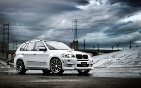 Picture white, clouds, BMW, SUV, tuning, BMW X5