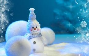 Picture snow, snowflakes, smile, holiday, balls, magic, snowman, snow, Snegovichok