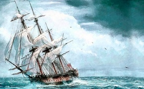 Picture sea, ship, sailboat, picture, painting, painting