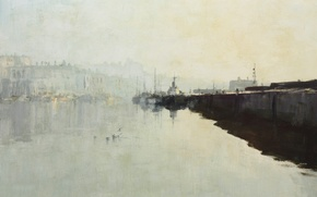 Picture landscape, fog, picture, pierce, Edward Seago, Early morning in Ramsgate