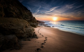 Picture the way, beach, stone, sea, wave, track, rocks, sunrise, horizon, clouds
