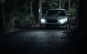 Picture road, forest, light, lights, subaru, Subaru, legacy