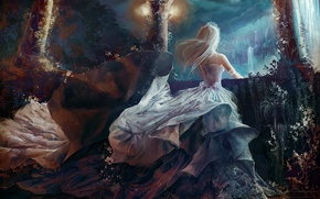 Wallpaper girl, waterfall, anime, art, Princess, tiara, jennyeight