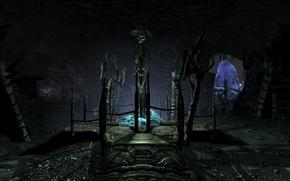 Picture game, skeleton, cave, skyrim, Skyrim, dawnguard