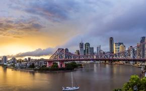 Picture bridge, river, dawn, home, yacht, Australia, Chinatown, Queensland