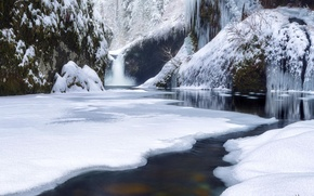 Picture winter, forest, snow, river, waterfall