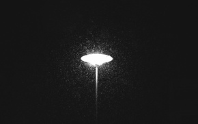 Picture light, winter, snowing, lamp post
