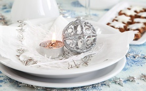 Picture ball, candle, silver, New Year, cookies, Christmas, plates, Christmas, New Year, serving