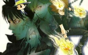 Picture flame, hat, gloves, mafia, katekyo Hitman reborn, reborn, arcobaleno, shark superb, tsunayoshi sawada, xanxus