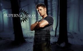 Picture car, Chevrolet, forest, Supernatural, Jensen Ackles, man, limbo, symbol, good, Dean, Dean Winchester, Impala, pose, …