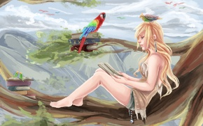 Picture girl, birds, tree, foliage, books, branch, parrot