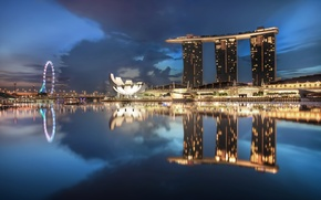 Picture the sky, clouds, night, lights, lights, skyscrapers, backlight, Singapore, architecture, blue, megapolis, sky, blue, night, …