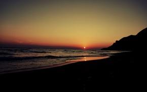 Picture beach, twilight, sunset, sun, hill, dusk, seaside, silhouette