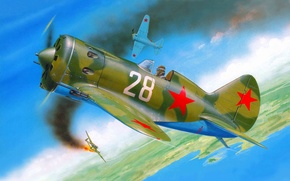 Picture the plane, fighter, art, serial, chassis, first, OKB, created, -16, Soviet, one, piston, single-engine, WW2., ...