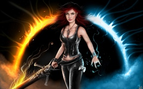 Picture flame, magic, Girl, sword, joystick