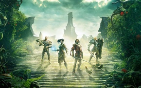 Wallpaper magic, team, roof, chicken, sword, heroes, shield, Fable Legends, clouds, plants, home, Lionhead, crossbow, armor, ...