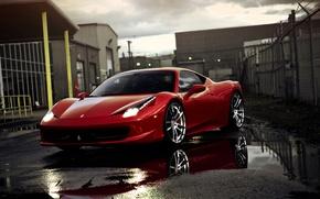 Picture reflection, puddles, red, supercar, Ferrari, ferrari 458 italia