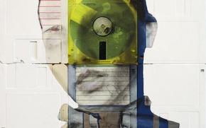 Picture look, girl, eyes, style, figure, paint, portrait, art, floppy, floppy art, Nick Gentry, Nick Gentry, …