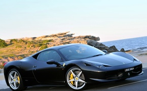 Picture sea, black, Ferrari, ferrari 458 italia, 458 Italia