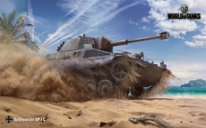 Picture The sky, Water, Sand, Clouds, Mountains, Dust, Palm trees, WoT, World of Tanks, World Of ...