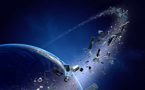 Picture metal, planet, technology, space junk