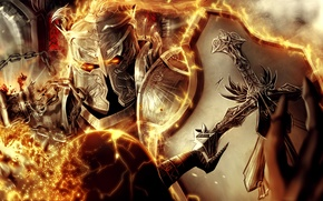 Picture weapons, fire, cross, warrior, art, helmet, shield, armor