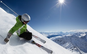Picture the sky, snow, landscape, mountains, the descent, skier