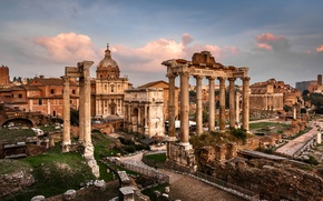 Picture area, Rome, Italy, columns, ruins, Italy, Rome, Arch, Roman forum, The Temple Of Saturn, Roman …