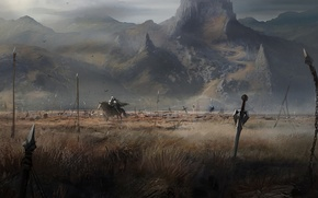 Picture road, weapons, rocks, rider, battlefield, Knight
