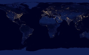 Picture NASA Goddard Space Flight Center, the continents, earth, light, planet, NASA, lights, night, space, map