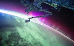 Picture Earth, orbit, Northern lights, ISS