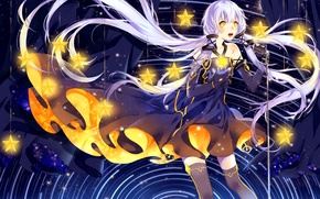 Picture girl, anime, art, microphone, vocaloid, stars, xingchen