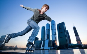Wallpaper skyscrapers, leisure, guy, sport, t-shirt, the city, jeans, videos