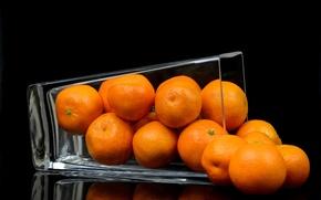 Wallpaper vase, fruit, tangerines