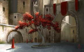 Picture the city, people, castle, tree, foliage, art, yard, arch, red, robes