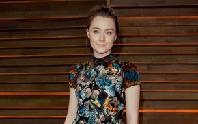 Picture eyes, look, girl, smile, dress, actress, blonde, Saoirse Ronan, Saoirse Ronan