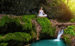 Wallpaper nature, waterfall, the Lotus position, moss, girl, forest, in white, stream, summer, meditation, yoga, stones