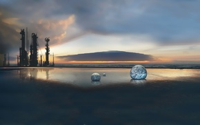 Picture ice, landscape, sunset, sphere, the tower