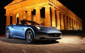 Wallpaper night, Ferrari, ruins, Сalifornia