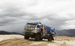 Picture sand, mountains, desert, master, truck, the bushes, rally, rally, KAMAZ, kamaz, damage, Dakar, dakar, redbull