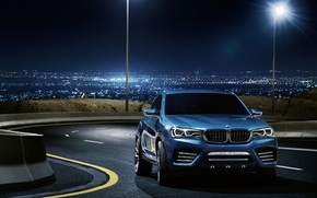 Picture road, lights, blue, BMW, BMW