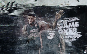 Picture Miami, Sport, Basketball, Miami, NBA, LeBron James, Heat, Hit, Famous Stars Dwayne Wade, Game over