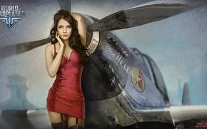 Picture girl, the plane, girl, propeller, aviation, air, MMO, Wargaming.net, World of Warplanes, WoWp, BigWorld, arcade, …