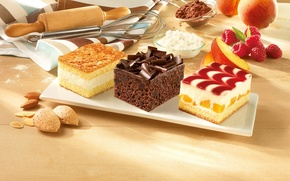 Picture raspberry, chocolate, apricot, dessert, cakes, cakes, almonds, dish, cocoa, flour, cheese, rolling pin, whisk